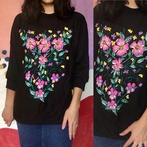 VINTAGE 80s Puff Paint Black Floral Pullover Shirt